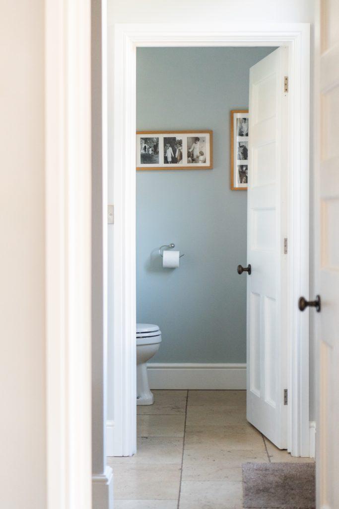Door into renovated bathroom.