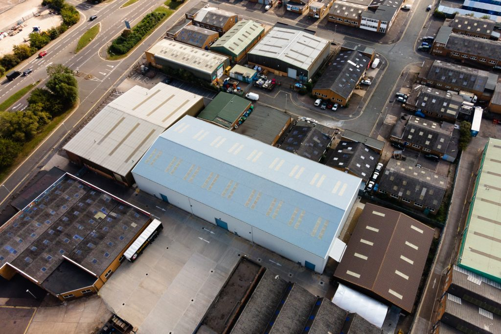 Aerial view of a large warehouse