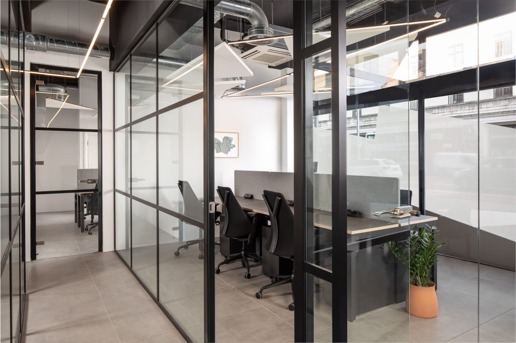 Glass office interior