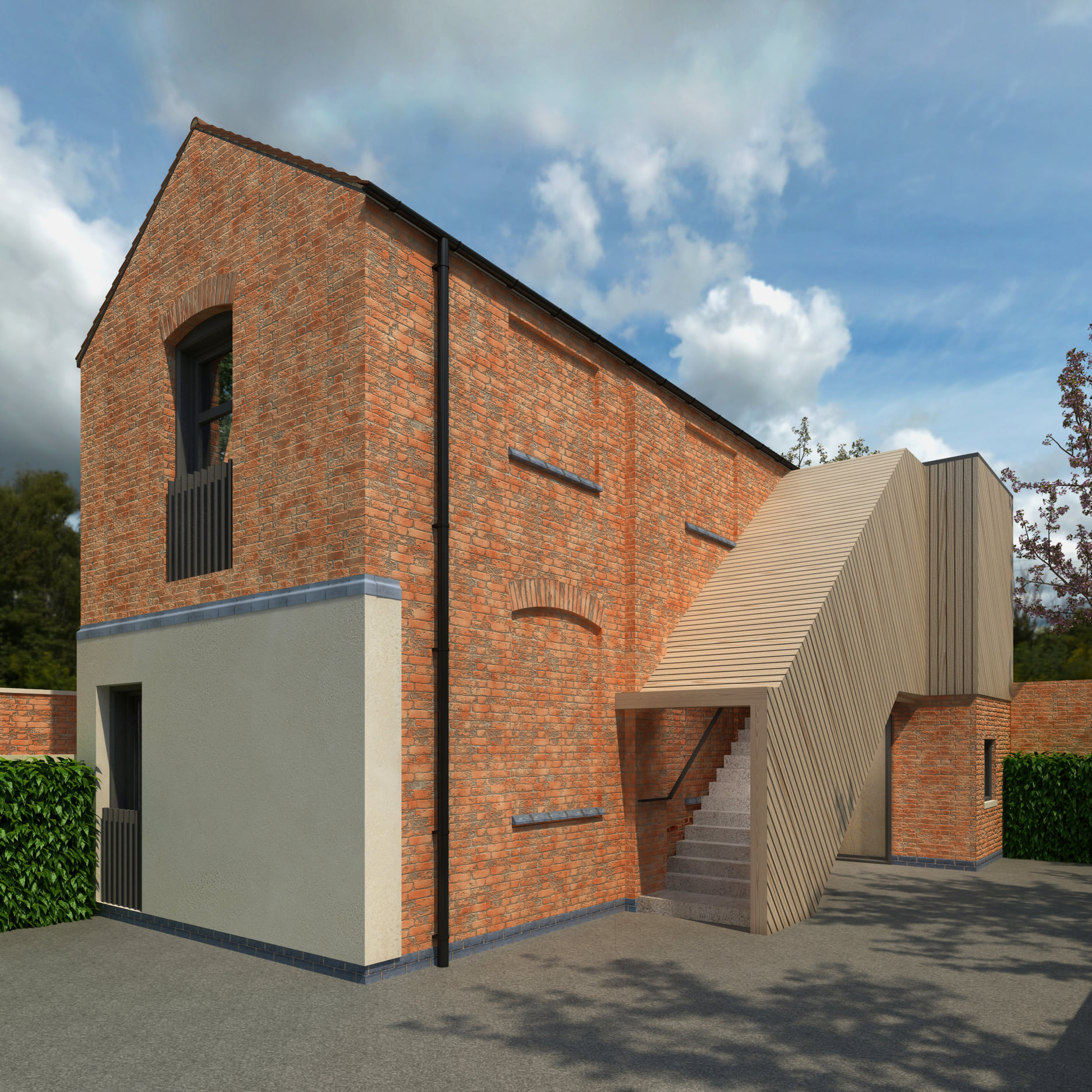 Refurbished Coach House with external timber staircase